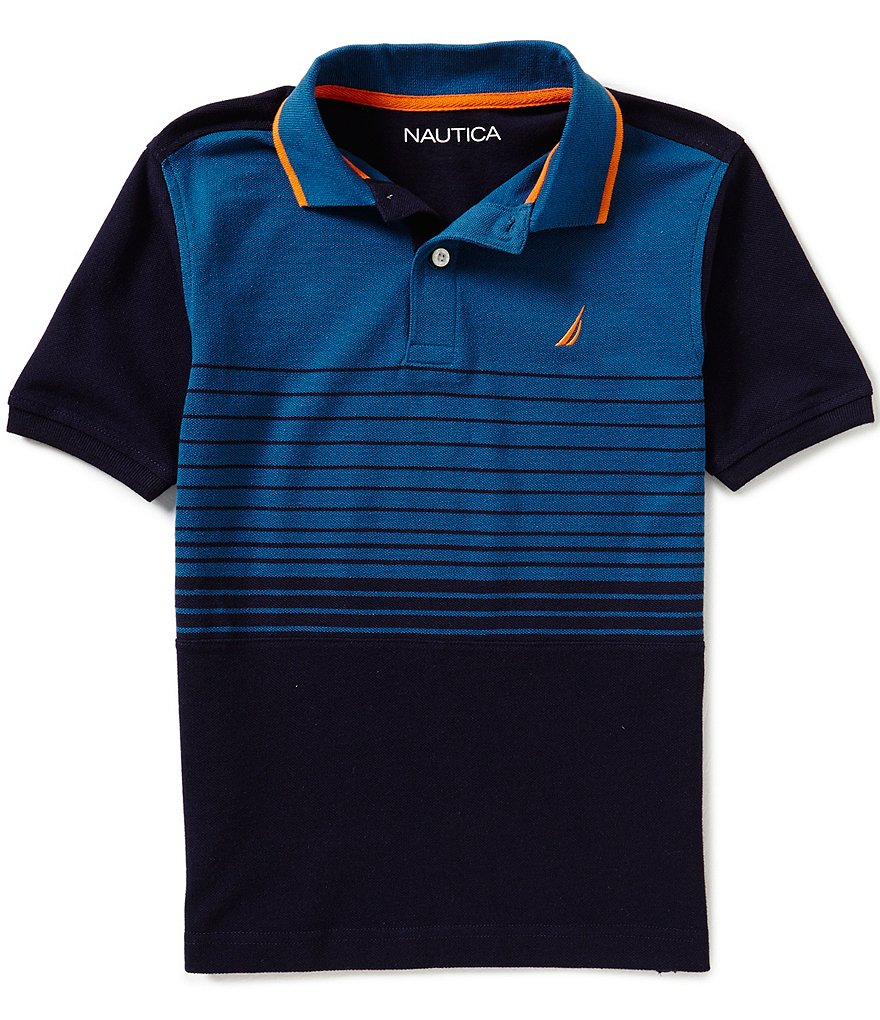 Nautica Big Boys 8-20 Color Blocked Horizontal-Striped Short-Sleeve Polo Shirt