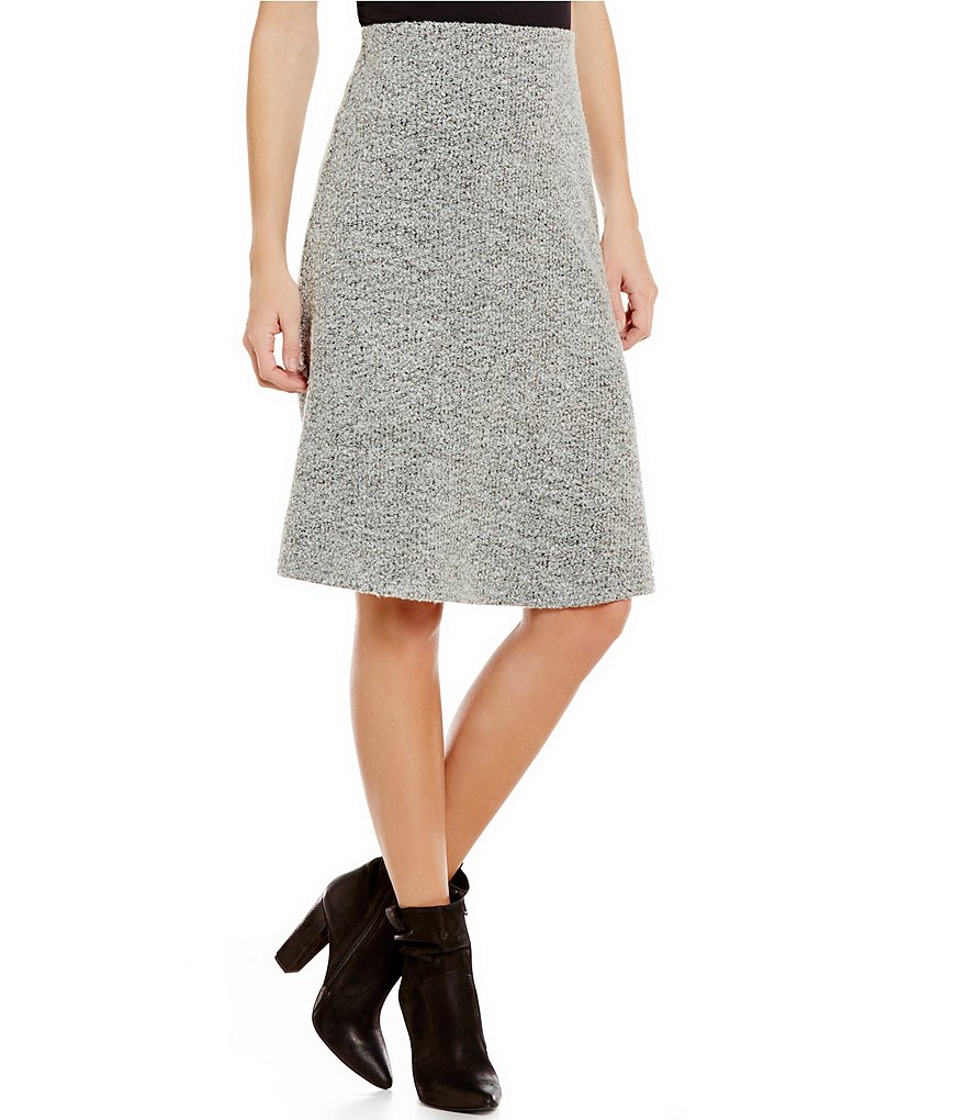 THML Pull-On Elastic Waist A-Line Wool Blend Skirt