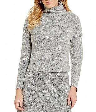 THML Mock Neck Long Sleeve Cropped Wool Blend Sweater