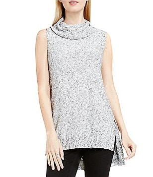 Two by Vince Camuto Marled High-Low Cowl Neck Sweater