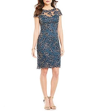 Tadashi Shoji Illusion Neck Metallic Embroidered Lace Sheath Dress