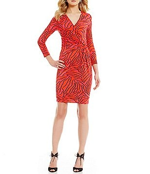 Anne Klein Printed 3/4 Sleeve Faux Wrap Dress