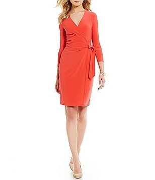 Anne Klein Matte Jersey Wrap Tie Front Wrap Dress