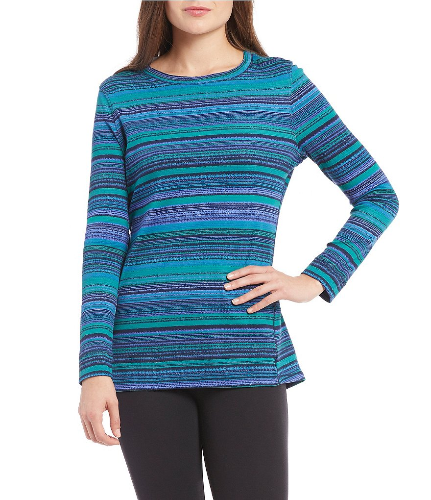 Westbound Crew Neck Long Sleeve Striped Tunic