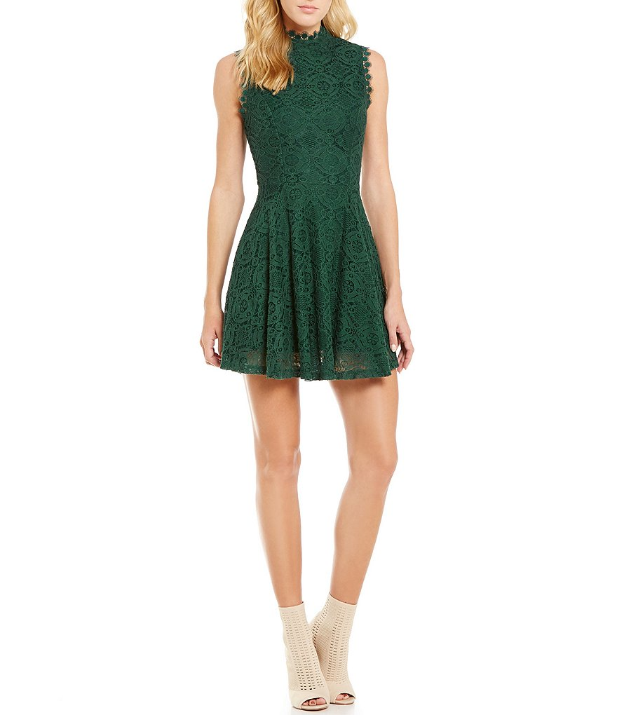 Jodi Kristopher Sleeveless Mock Neck Lace Fit-and-Flare Dress