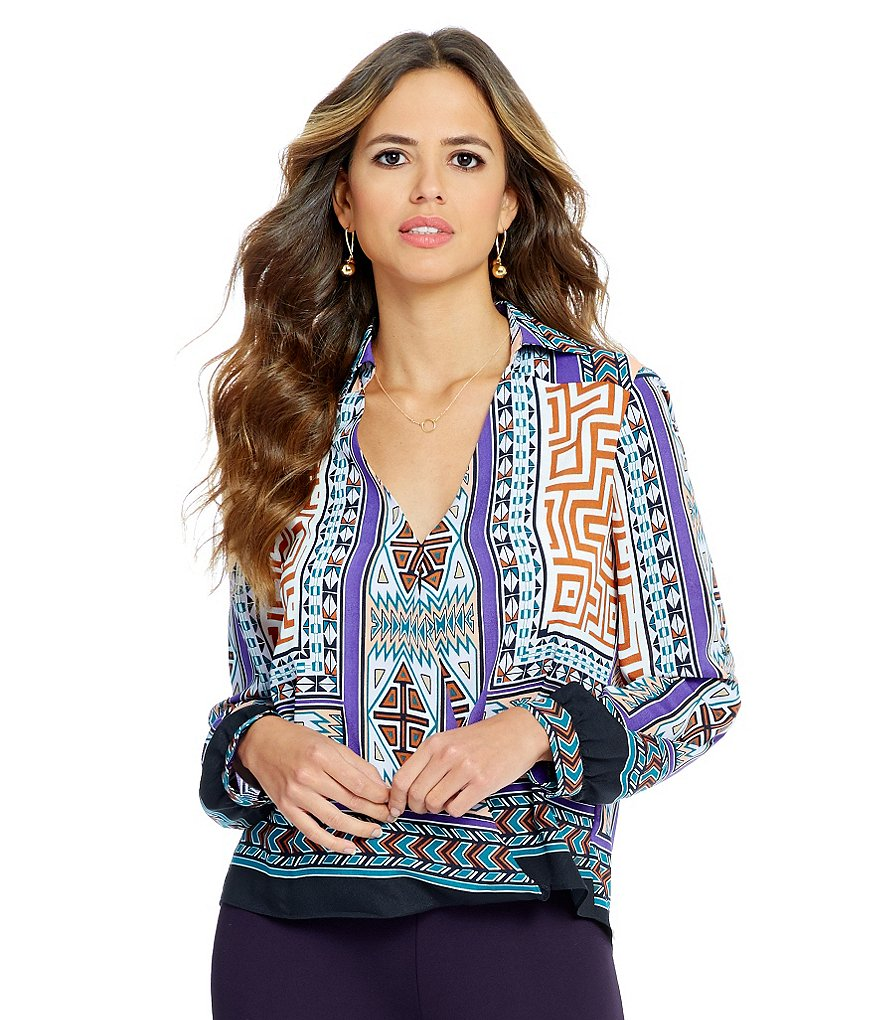 Gianni Bini Leni Boarder Print Wrap Top