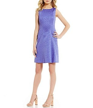 Anne Klein Crew Neck Sleeveless Dropped Waist Printed Jacquard Fit & Flare Dress
