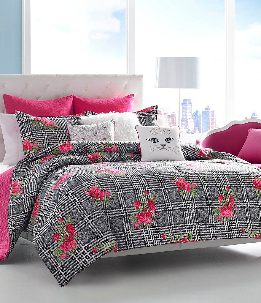 Betsey Johnson Polished Punk Houndstooth Plaid & Floral Comforter Mini Set