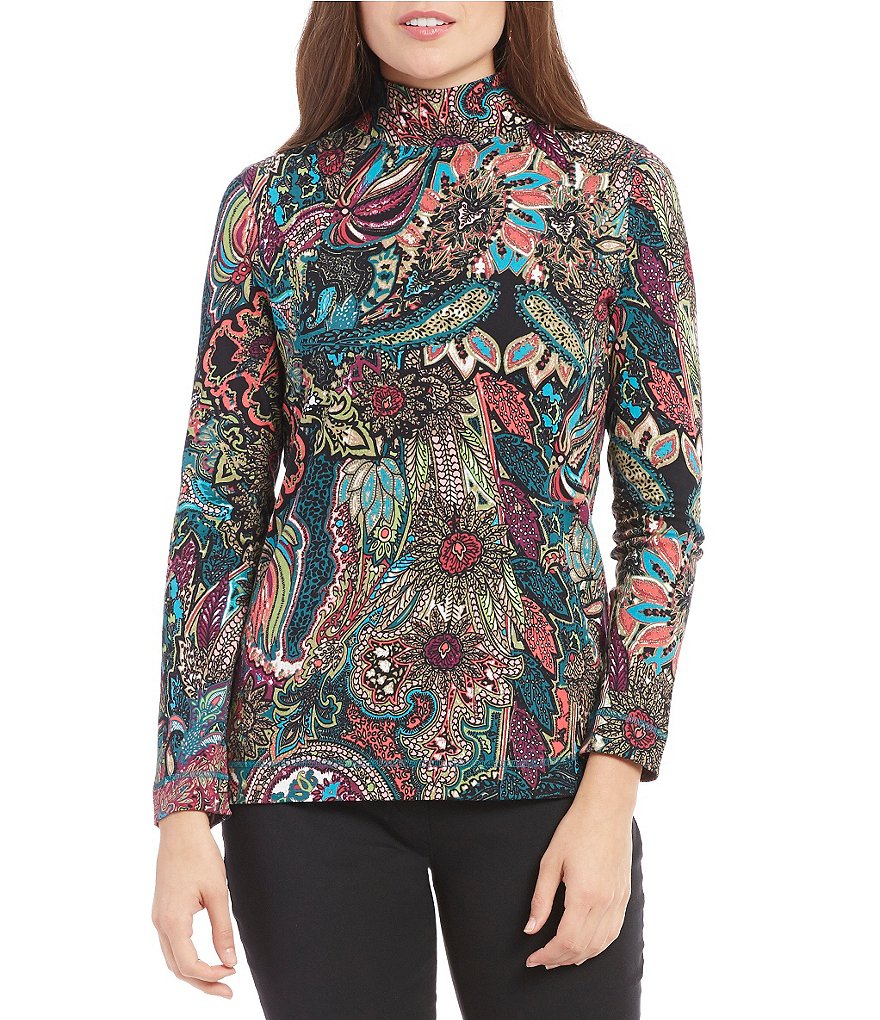 Westbound Mock Neck Long Sleeve Printed Top