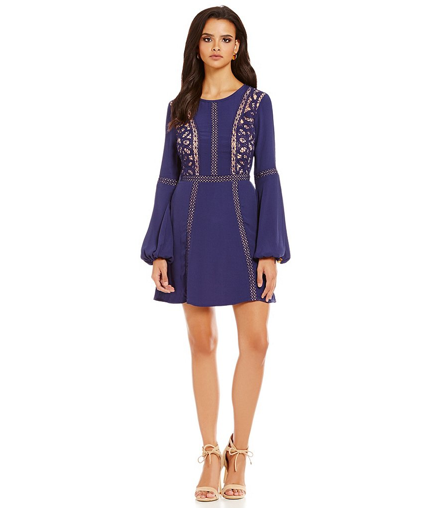 Gianni Bini Jocelyn Flare Sleeve Lace Inset Dress
