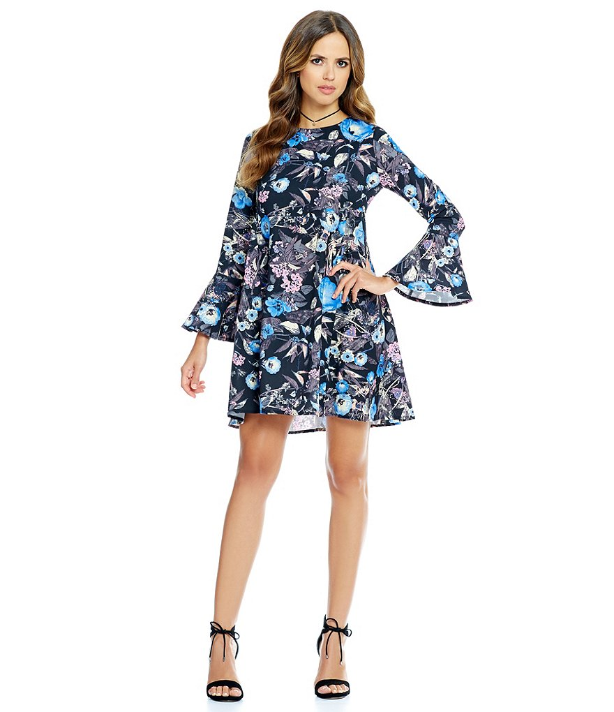 Gianni Bini Mona Bell Sleeve Floral Print Dress