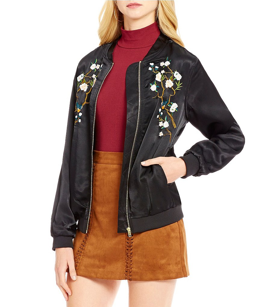 Gianni Bini Sloan Embroidered Bomber Jacket
