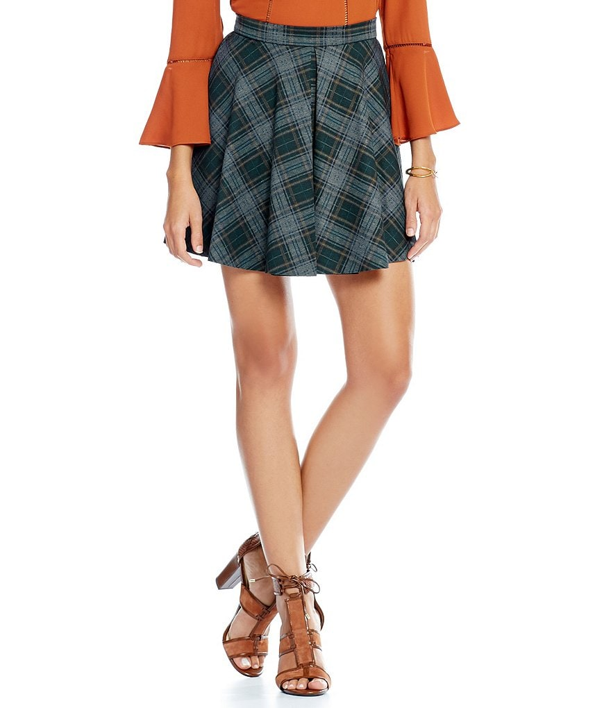 Gianni Bini Sandy Plaid Swing Skirt
