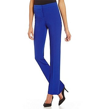 Kasper Petite Straight Leg Pleated Front Solid Stretch Crepe Pants