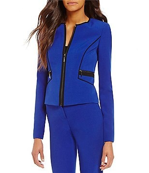 Kasper Petite Round Neck Zip Front Solid Stretch Crepe Jacket