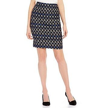 Kasper Petite Printed Tweed Straight Pencil Skirt