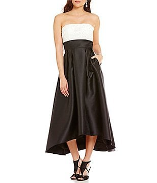 Carmen Marc Valvo Infusion Two Tone Hi-Low Strapless Dress