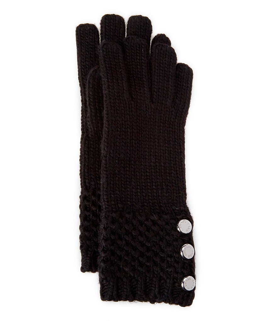 Michael Kors Tuck-Stitched Button Gloves