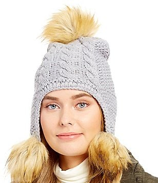 Michael Kors Patchwork Cable-Knit Trapper Hat with Faux-Fur Poms