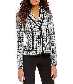 Kasper Plaid Jacquard 2-Button-Front Jacket
