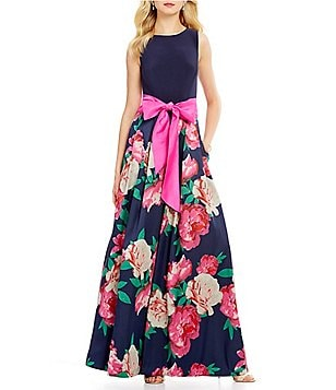 Eliza J Rounded Neck Sleeveless Floral Jacquard Ball Gown
