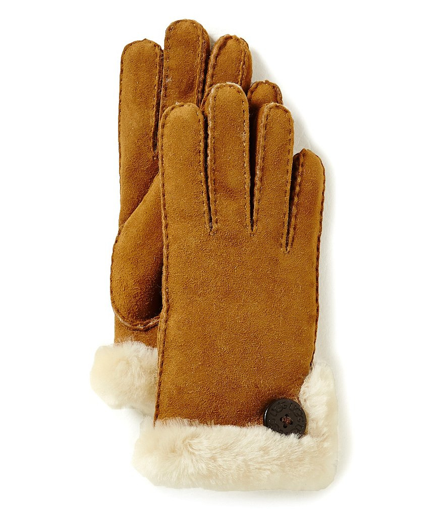 UGG® Bailey Sheepskin Gloves with Button Detail