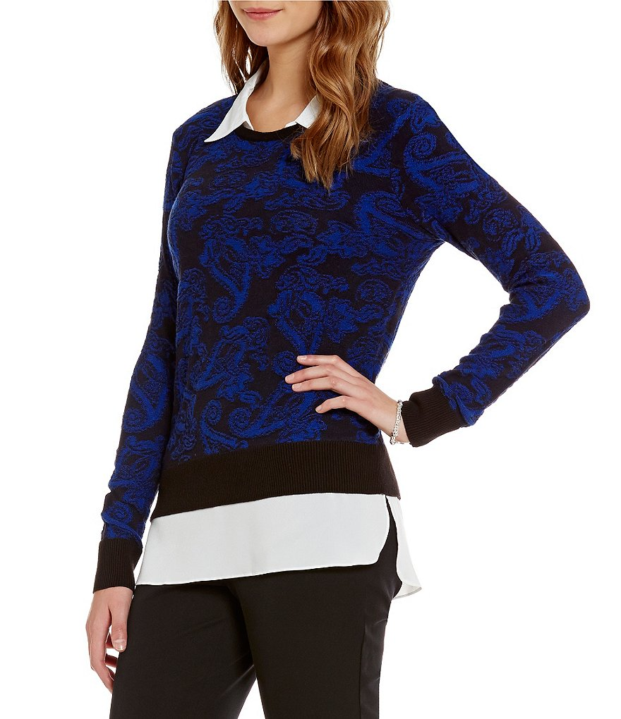 Investments With Collar and Shirttail Hem Long Sleeve Patterned Sweater Top