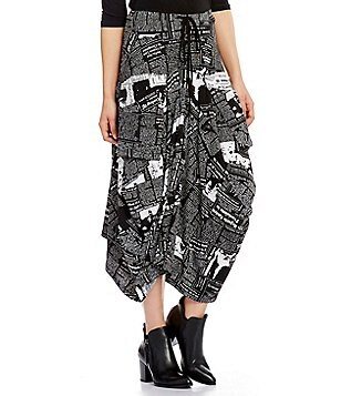 IC Collection Newspaper Print Drawstring Waist A-Line Skirt