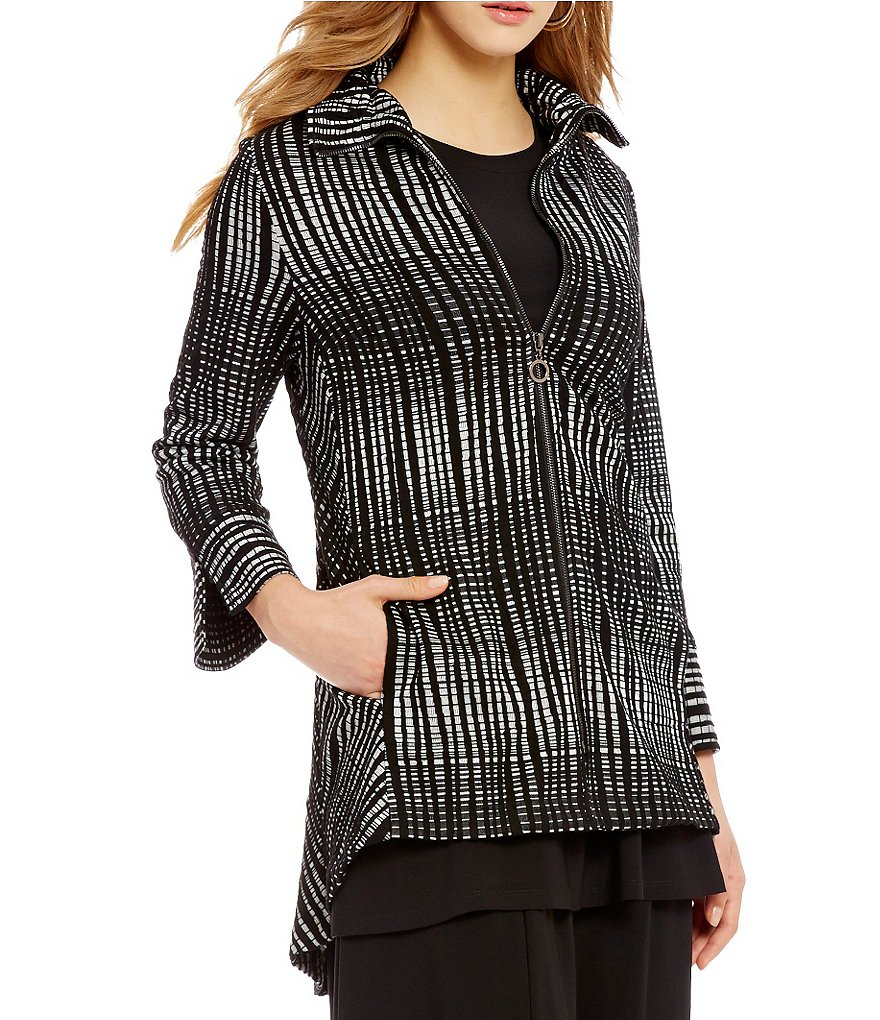 IC Collection Stand Collar Zip-Front Striped Swing Jacket