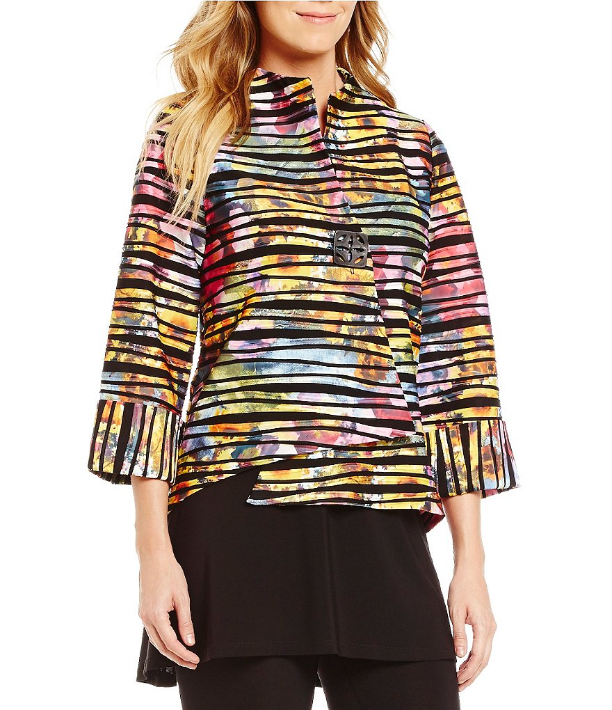 IC Collection One-Button Multi Print Asymmetrical Jacket