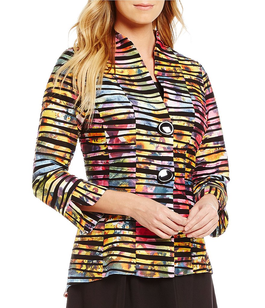 IC Collection Stand Collar Two-Button Multi Print Jacket