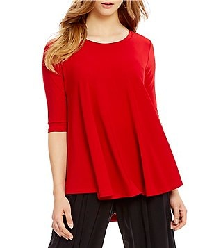 IC Collection Solid 3/4 Sleeve Swing Top