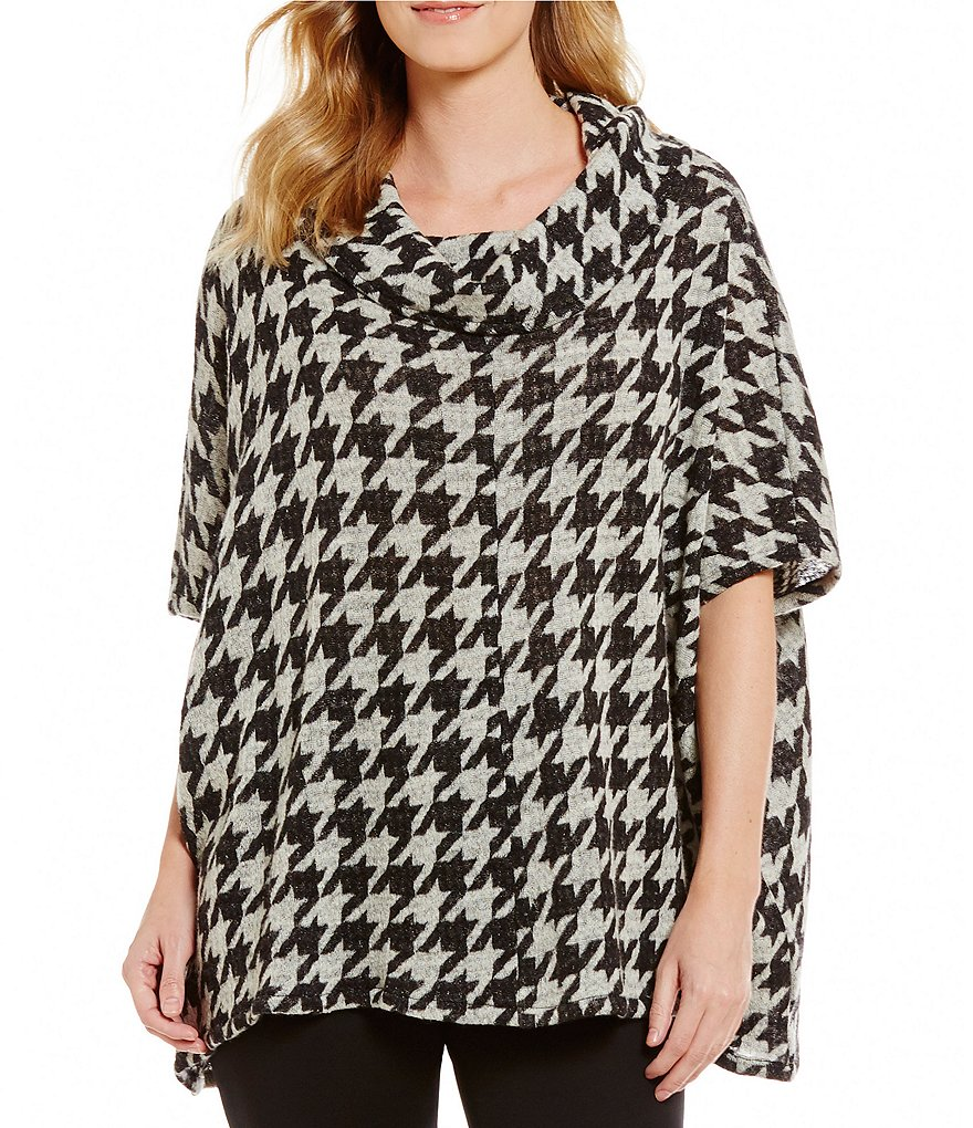 Bryn Walker Cowl Neck 3/4 Sleeve Houndstooth Fleece Poncho