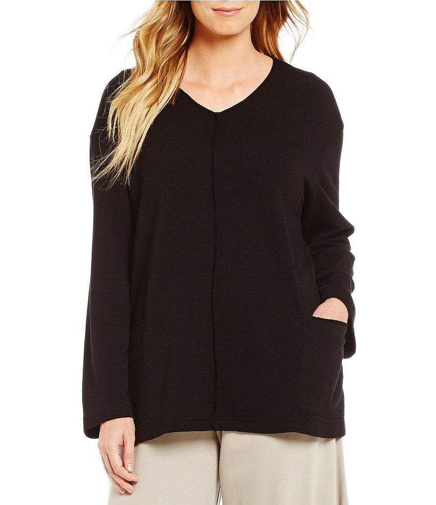 Bryn Walker French Terry V-Neck Long Sleeve Sunday Shirt