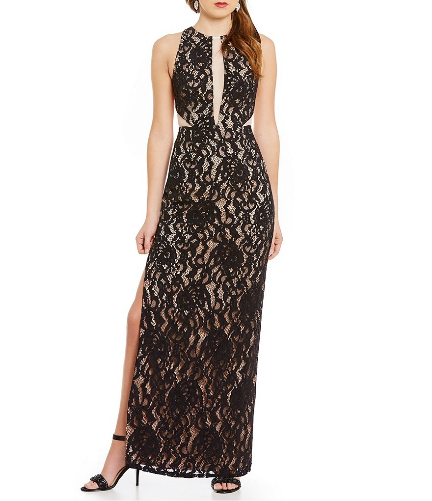 Aidan Aidan Mattox Halter Illusion Lace Sleeveless Gown