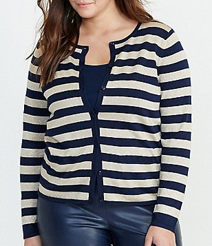Lauren Ralph Lauren Plus Striped Metallic Button-Front Cardigan