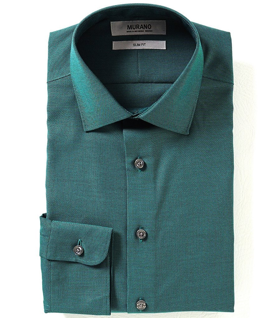Murano Slim-Fit Spread-Collar Solid Royal Oxford Dress Shirt