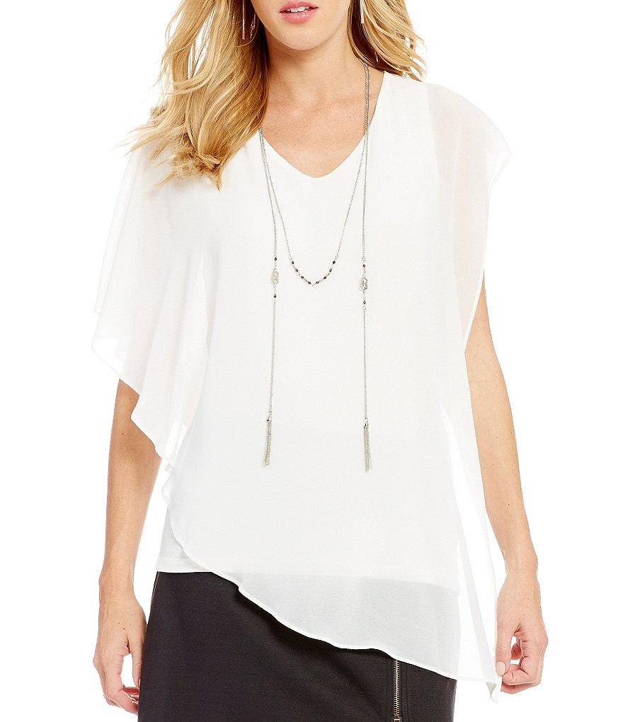 I.N. San Francisco Sheer-Overlay Necklace Top