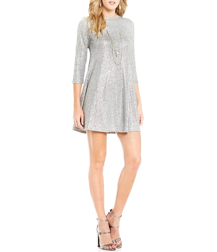 Soulmates Foiled Ribbed Knit Trapeze Dress