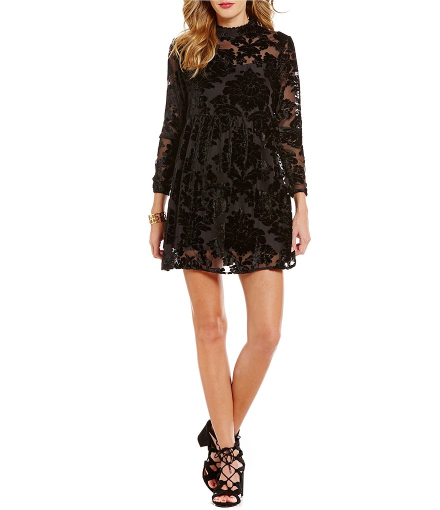 Coco + Jaimeson Mock Neck Velvet Burnout A-line Dress
