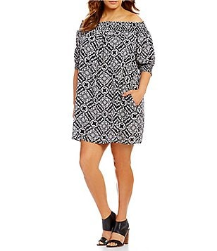Chelsea & Theodore Plus Off-The-Shoulder Elbow Sleeve Medallion Print Tunic