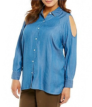 Chelsea & Theodore Plus Long Sleeve Cold-Shoulder Chambray Shirt