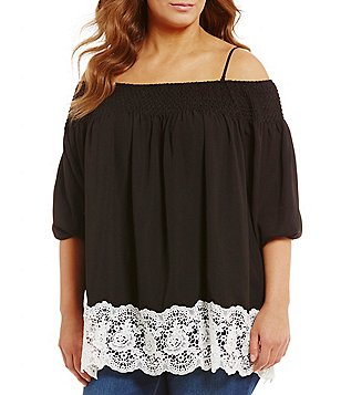 Chelsea & Theodore Plus Off-The-Shoulder Lace Hem Top