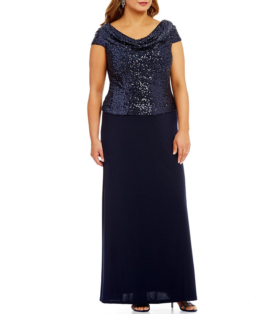 Cachet Plus Sequined Cowl-Neck Mock 2-Piece Gown