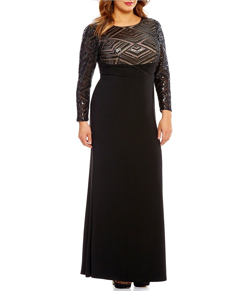 Cachet Plus Sequined-Bodice Long Sleeve Jersey Gown