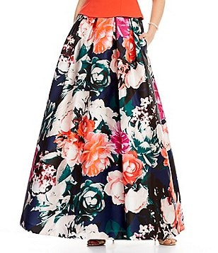 Eliza J High-Waist Floral Jacquard Ball Skirt