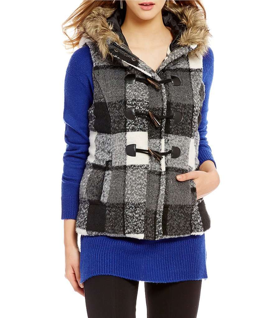 Takara Faux Fur Trimmed Hood Plaid Vest