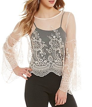 Takara Floral Embroidered Lace Long Sleeve Top