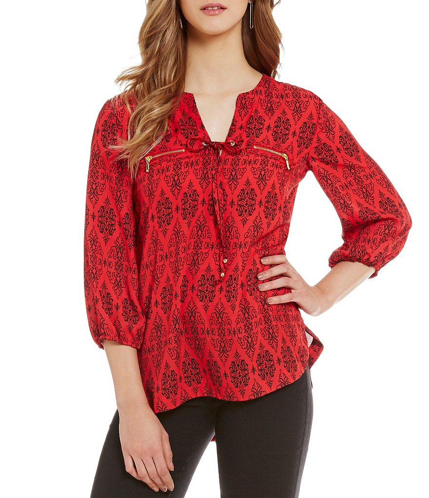Takara Printed Lace Up Neckline Blouse