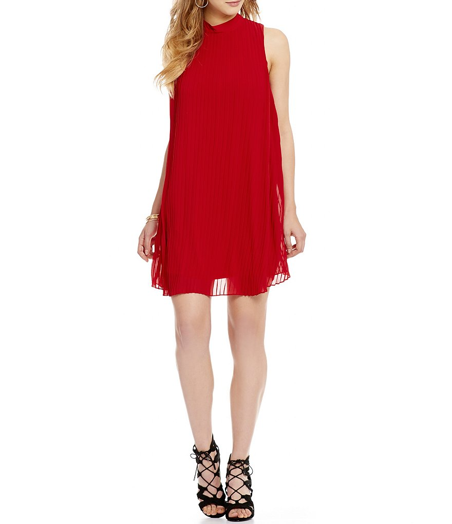 Takara Mock Neck Pleated Shift Dress
